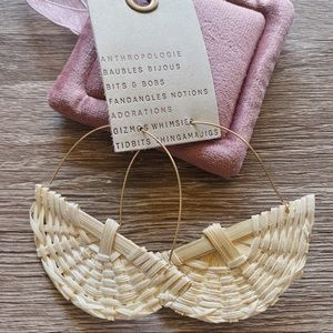 NWT Anthropologie White Rattan Earrings